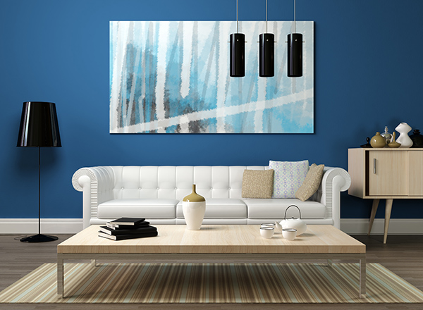 3d rendering of a modern interior with white sofa and abstract blue painting